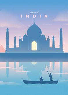 Wonders Of The World Travel poster prints by Retina Creative Travel Illustration, Landscape Illustration, Wall Art Prints, Poster Prints, Art Deco Posters, India Poster, Bd Art, Art Et Design, Vintage Travel Posters