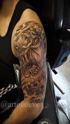 e8b11f9d2 Chronic Ink Tattoo - Toronto Tattoo Tiger half sleeve tattoo done by BKS.  #Filipinotattoos