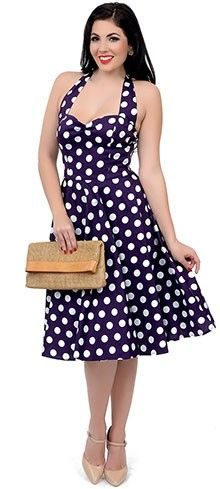 Hell Bunny 1950s Style Purple & White Dotted Halter Mariam Swing Dress