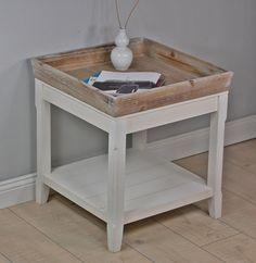 Couchtisch Tisch Beistelltisch weiß braun Landhaus Holztisch Holz robust NEU im Elbmöbel Online Shop
