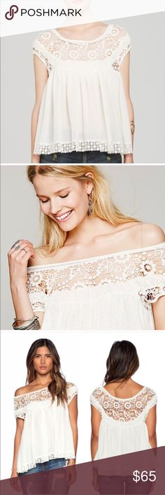 Free people 'heart throb' waffle top Ivory xsmall free people baby doll top. Can be worn on or off the shoulders. Made with frilly scalloped detail around the neck line and trim Free People Tops