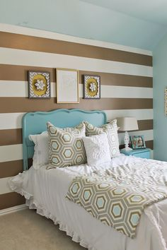 Shabby chic meets glam in this cute teens room. Gold and Turquoise, mixed with gray and white. Gold striped wall treatment. with antique headboard painted turquoise. The easy how-to on Theraggedwren.blogspot.com
