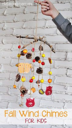 Fall Wind Chimes Craft for Kids at thebensonstreet.com #kidscraft #fallcraft #fall #windchimes #diy