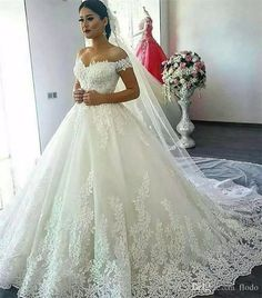 2017 Vintage Off Shoulder Ball Gown Wedding Dresses Chapel Train Beaded Lace Applique Ivory Tulle Corset Plus Size Bridal Gowns Custom Made Chiffon Wedding Dress Chinese Wedding Dress From Flodo, $166.99| Dhgate.Com