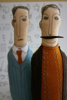 Felt and embroidery dolls. Two dapper gentlemen. I love their fashion sense and…