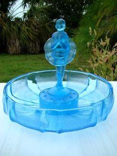 BLUE SATIN ART GLASS, FLOWER FROG  Ballerina