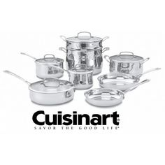 Cuisinart Stainless Steel Cookware Set with Lid(s) Included at Lowe's. The Cuisinart Set Contour Stainless Cookware is premium cookware that features professional construction. An aluminum disc in the base is Cuisinart Cookware, Cookware Set, Bakeware, Pots And Pans Sets, Stainless Steel Oven, Thing 1, Contour Brush, Pan Set, Natural Flavors