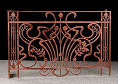 French Antique Art Nouveau Iron Balcony Console. This would be cool as a fireplace screen.