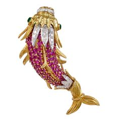Ruby Emerald Diamond Fish Brooch | From a unique collection of vintage brooches at http://www.1stdibs.com/jewelry/brooches/brooches/