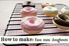 Everyday is a Holiday: How to Make: faux mini doughnuts don't know if they w… - Donut Decor Donut Decorations, Candy Christmas Decorations, Christmas Trees, Cubicle Decorations, Christmas Crafts, Xmas Ornaments, Xmas Tree, Merry Christmas, Fake Cupcakes