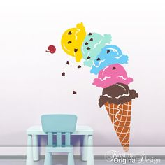 Giant Ice Cream Cone Vinyl Wall Decal Decoration DIY by Twistmo, $120.00
