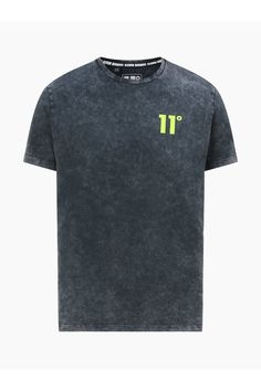 Acid Wash T-Shirt - BlackLook fantastic wearing the 11 Degrees Acid Wash T-Shirt - Black. The Tee is designed with short sleeves, a crew neck and straight hem. The T-Shirt is comfy to wear from being constructed using soft touch cotton. Wear this Tee with Jeans or Joggers for the ultimate look. Complete the look with these Skinny Jeans.Regular fitSoft touch jersey fabricShort sleevesCrew neckStraight hemAcid wash design11 Degrees logo100% cottonMachine wash according to instructions on