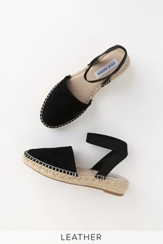 Make any outfit extra-chic with the Steve Madden Moment Black Suede Leather Espadrilles! Genuine suede leather upper and matching elastic ankle strap. High Heel Boots, Heeled Boots, Shoe Boots, High Heels, Leather Sandals Flat, Leather Espadrilles, Espadrilles Outfit, Wedge Sandals, White Leather