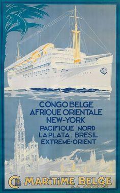 Cie Maritime Belge - Congo Belge - Afrique Orientale - New-York - Pacifique nord - La Plata - Brésil - Extreme-orient - illustration : Louis Royon -