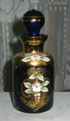 Moser Like Small Perfume Bottle Jar Cobalt Blue Porcelain Gold Accents   eBay