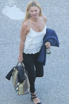 Kate Moss wearing Balenciaga Papier Elaphe Bag and Topshop Kate Moss Scalloped Satin and Chiffon Camisole