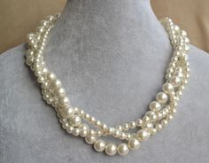 ivory pearl Necklaces,Glass Pearl Necklace, Triple Pearl Necklace,Wedding Necklace,bridesmaid necklace,Jewelry by glasspearlstore on Etsy https://www.etsy.com/listing/155682396/ivory-pearl-necklacesglass-pearl