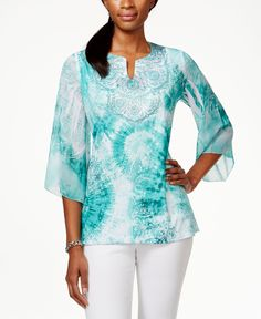 Jm Collection Petite Embellished Angel Sleeve Top, Only at Macy's