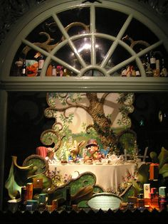 Alice in Wonderland window displays at Fortnum and Mason during Christmas 2006
