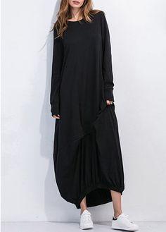 Round Neck Asymmetric Hem Long Sleeve Straight Dress on sale only US$30.16 now, buy cheap Round Neck Asymmetric Hem Long Sleeve Straight Dress at liligal.com