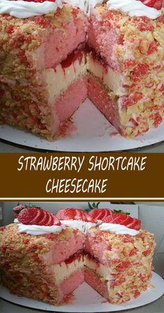 Strawberry Shortcake Cheesecake, Strawberry Desserts, Summer Desserts, Easy Desserts, Delicious Desserts, Dessert Recipes, Strawberry Upside Down Cake, Cheesecake Recipes, Cheesecake Cake