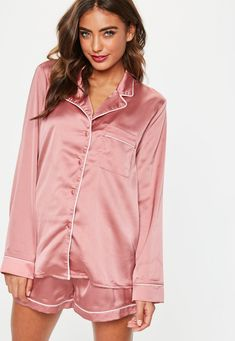 4d64bec599b40 Pink Piping Detail Short Pajama Set