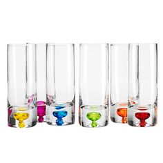 6 Piece Stella Shot Glass Set // welcome to my current obsession with coloured glassware. why? they are so practical - every guest picks a colour and no one forgets which glass belongs to who! #productdesign #designinspiration