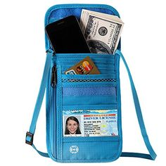 DEW Travel Passport Holder Stash Hidden Neck Pouch RFID Blocking Travel Anti-Theft Hidden Wallet for Security,Water Resistant Pocket Pouch Neck Passport Wallet (Blue) -- undefined #TravelAccessories