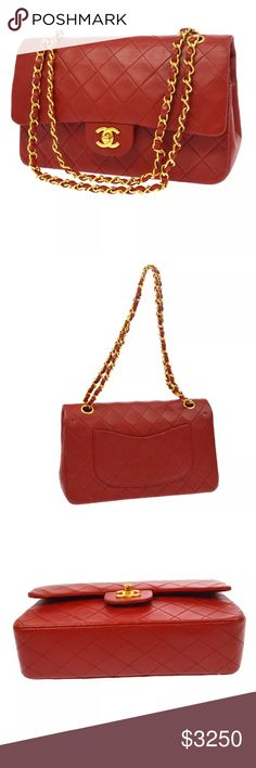 """Auth CHANEL Red Quilted Lambskin Double Flap 2.55 Authentic CHANEL Medium Classic Quilted Red Lambskin Leather Double Flap 2.55  100% Authentic  24k gold plated hardware   Approximate L 10"""" x H 6.3"""" x 2.8""""  Shoulder drop 16.5"""" when single and 9.5"""" when doiuble   Condition: Beautiful Preowned Condition with minor wear  Made in France   Includes: Dust bag and hologram sticker intact.                  More photos available.  Better price by . CHANEL Bags Shoulder Bags"""