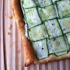 Zucchini tart with lemon herb ricotta.