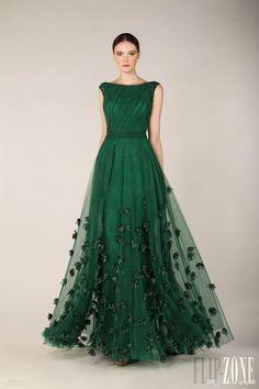 Fashionable Zuhair Murad Evening Dress 2015 Emerald Green Tulle Cap Sleeve Party Dresses Women Custom Formal Prom Dress Red Carpet Gowns
