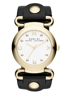 M.A.R.C. Gold-Tone & Black Leather Watch, 36mm from Marc by Marc Jacobs Watches on Gilt