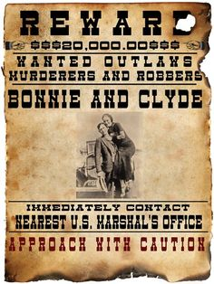 Bonnie and Clyde Wanted Poster Wholesale Art Print at Lieberman's