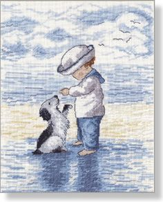 Puppy Love - Faye Whittaker Arts, All Our Yesterdays Cross Stitch and Original Art Wesbsite