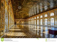 Catherine's Palace ballroom hall in Tsarskoe Selo (Pushkin), St. Stock Photos