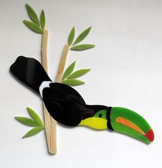 Selling on ebay.TOUCAN PARROT BAMBOO Precut Stained Glass Mosaic Inlay Kit.