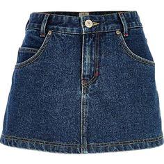 River Island Dark wash denim skort (€13) ❤ liked on Polyvore featuring skirts, mini skirts, bottoms, denim, saias, sale, zip skirt, blue skort, denim skirt and golf skirts