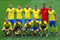 Sweden players line up for the team photos prior to the UEFA EURO 2016 Group E match between Republic of Ireland and Sweden at Stade de France on June 13, 2016 in Paris, France.
