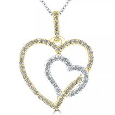 00e7c61a782e 0.30 Carat F-SI Diamond Double Heart Pendant Necklace in 14k Yellow ...