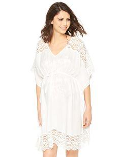Crochet Maternity Swim Cover-up, White