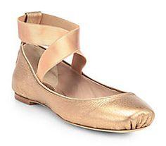 Chloe Metallic Leather Ballet Slipper.  Pure Femininity for Fall 2013.  Gorgeous.  Details at: bonconseil.us