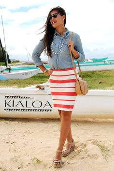 coral stripes and beach accessories