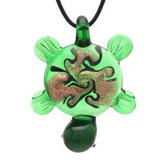 "Bleek2sheek Murano-inspired Glass Green ""Tribal Turtle"" Pendant Necklace"
