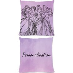 """This Fantastic Disney Princess Group Watercolour official cushion is fully licensed and is perfect for any dedicated Disney fan. Your personalisation is merged with the stylish design and is printed onto the 18"""" x 18"""" (45cm x 45cm) brushed poly fibre cushion using the latest sublimation technology.  The edge to edge design is printed on both sides and is finished with an invisible zip."""
