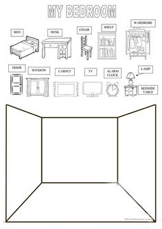 Draw Your Bedroom - English Esl Worksheets images ideas from Worksheets Ideas Drawing Activities, Preschool Learning Activities, Home Learning, Kindergarten Worksheets, Vocabulary Activities, English Lessons, Learn English, French Lessons, Spanish Lessons