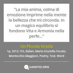 """""""Un Piccolo Grazie"""" (2013) #MariaGraziellaFiscato #MontecchioMaggiore #ITA #Text #Poetry #Italiano #Word https://quaestio.org/un-piccolo-grazie"""