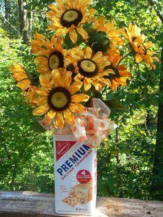 Fall Flower Arrangement in Vintage Saltine Cracker