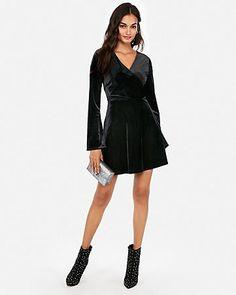 b0f9844e378 Express Petite Velvet Surplice Fit And Flare Dress