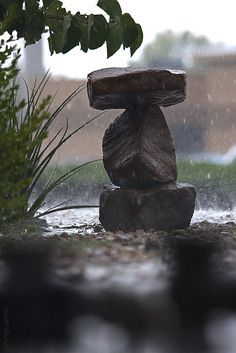 rock sculpture in the rain