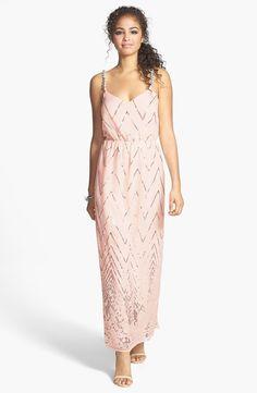 Twist Back Chevron Sequin Maxi Dress